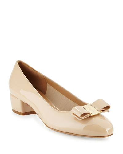 Vara Patent Low-Heel Pump, New Bisque