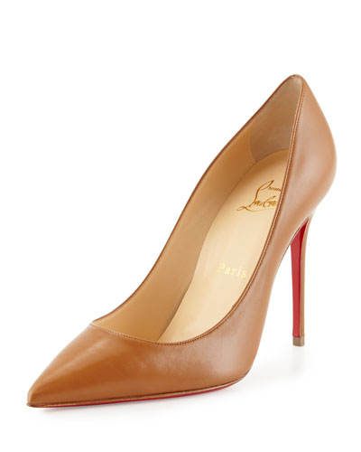 Decollette Leather 100mm Red Sole Pump, Noisette