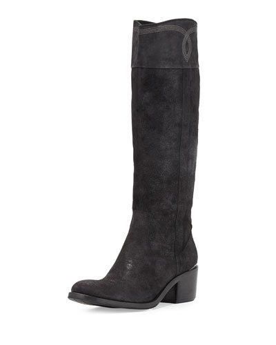 Willi Leather Riding Boot, Black