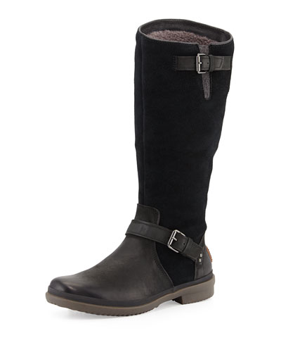 Thomsen Weather-Resistant Suede & Leather Boot, Black