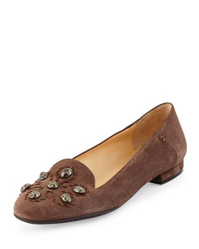 Kaya Stud Ornament Loafer, Dark Taupe