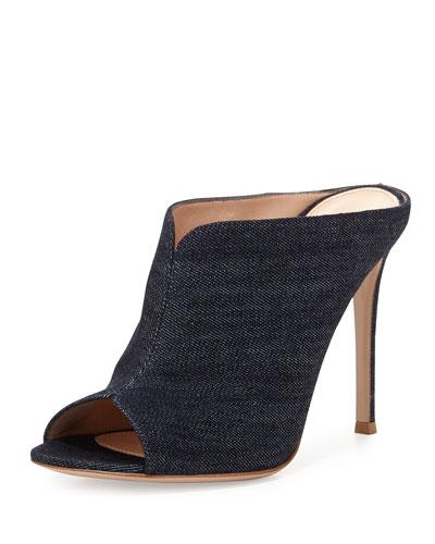 Denim Peep-Toe Mule Sandal, Denim