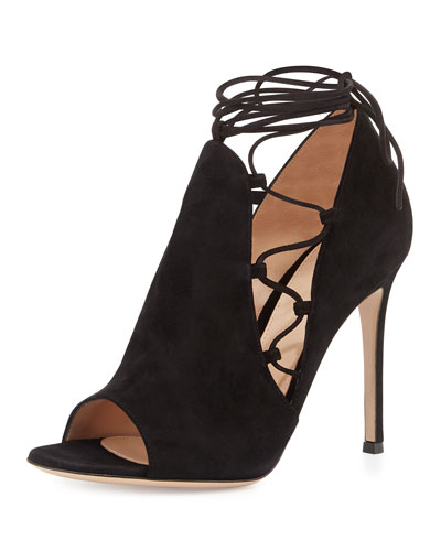 Side Lace-Up Peep-Toe Bootie, Black