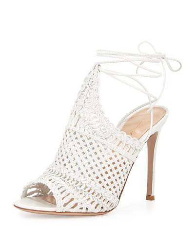 Allyson Leather Woven Net Sandal, Off White