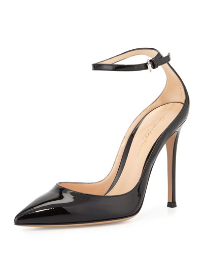 Patent Low-Collar Ankle-Wrap Pump, Black (Nero)