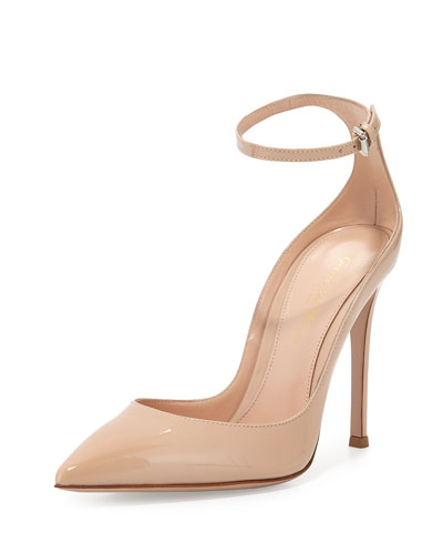 Patent Low-Collar Ankle-Wrap Pump, Nude