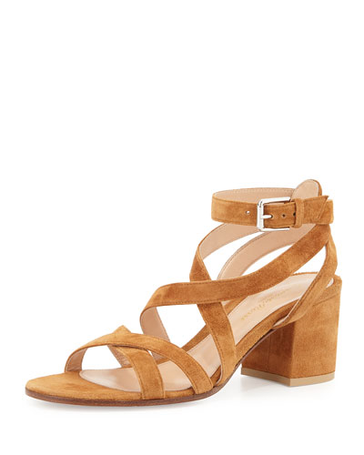 Suede Crisscross Block-Heel Sandal, Luggage