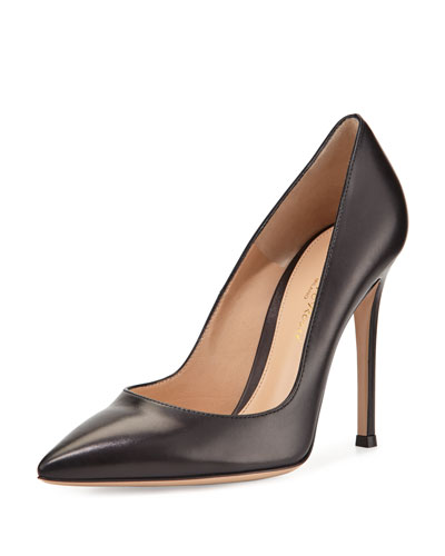 Leather Pointed-Toe Pump, Black
