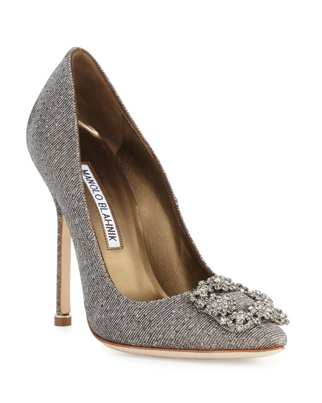 Manolo Blahnik Hangisi Crystal-Buckle Shimmery 115mm Pumps