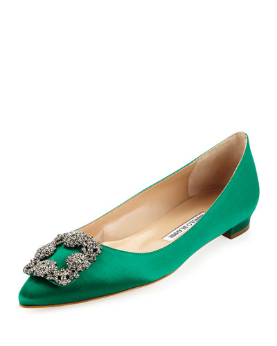Hangisi Crystal-Buckle Satin Flat, Emerald