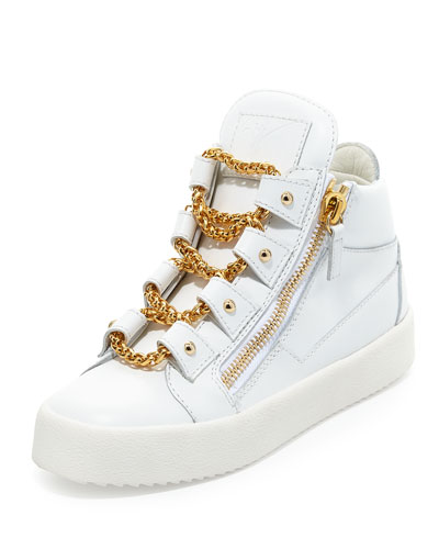 Chain Leather Mid-Top Sneaker, Bianco