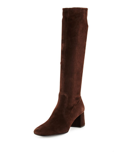 Stretch-Suede Knee Boot, Brown