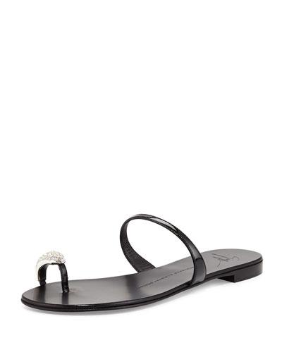 Patent Toe-Ring Flat Sandal, Nero