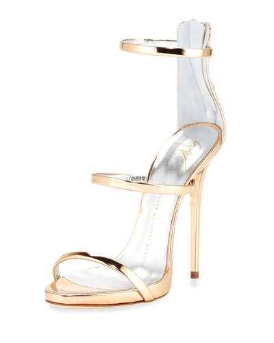 Metallic Three-Strap Evening Sandal, Ramino