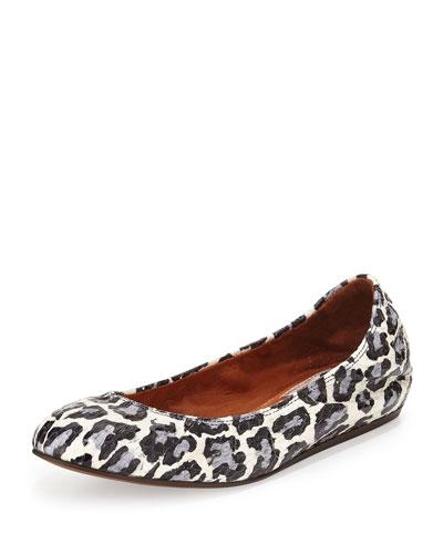 Leopard-Print Watersnake Ballerina Flat, Black/White