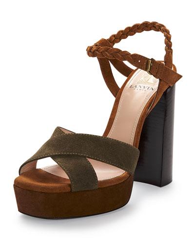 Braided Suede Platform Sandal, Camel/Olive