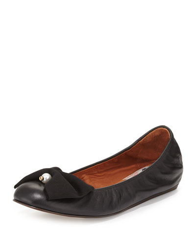 Pearly Bow Ballerina Flat, Black