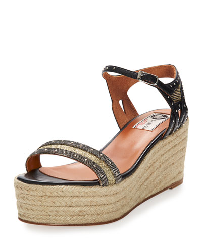 Studded Metallic Wedge Sandal, Gold