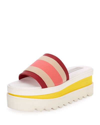 Striped Platform Slide Sandal, Beige/Cherry
