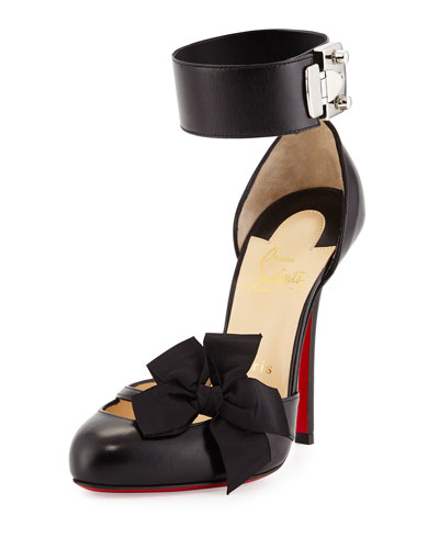 Fetish Bow d'Orsay Red Sole Pump, Black