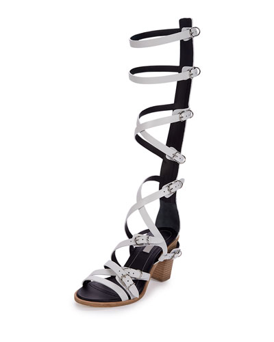 Belted Leather Gladiator Sandal, White (Blanc)
