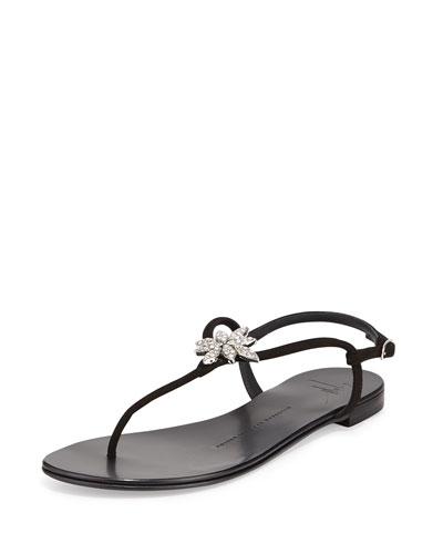 Nuvorock Crystal-Flower Sandal, Black