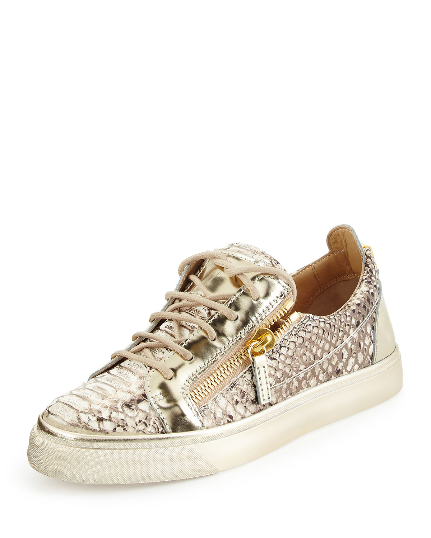 London Snake-Print Low-Top Sneaker, Gold