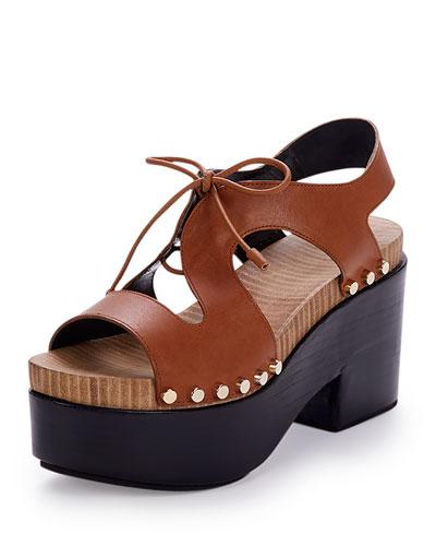 Tie-Front Leather Clog Sandal, Camel