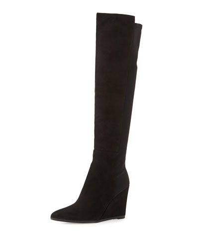 Demivoom Suede/Stretch Wedge Boot, Black
