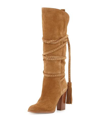 Jessa Split Suede Wrap Boot, Camel
