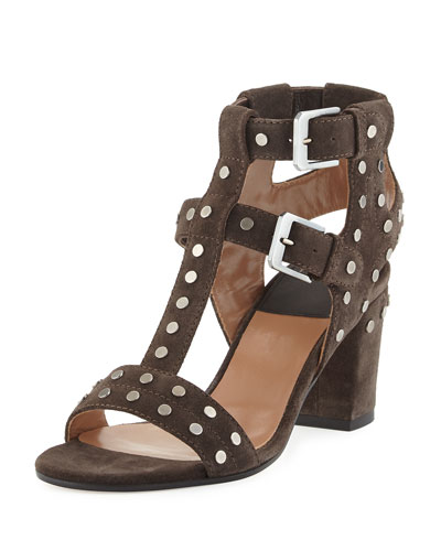 Helie Studded Suede Caged Sandal, Gray