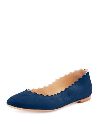Lauren Scalloped Suede Ballerina Flat, Blue Lagoon