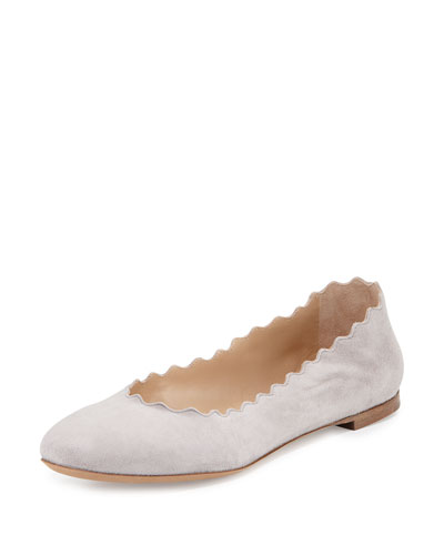 Lauren Scalloped Suede Ballerina Flat, Elephant Gray