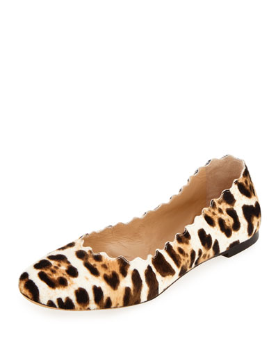 Lauren Scalloped Calf-Hair Ballerina Flat, Snow Leopard