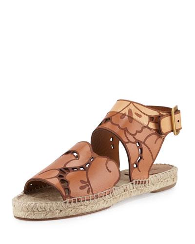 Tooled Leather Espadrille Sandal, Marron Glace