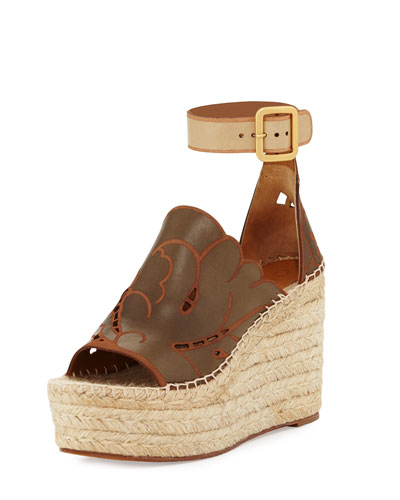 Tooled Leather Wedge Espadrille Sandal, Marron Glace