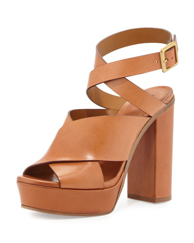 Matte Leather Ankle-Wrap Sandal, Marron Glace
