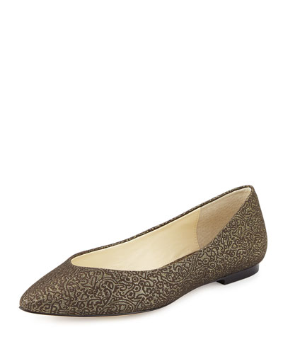 Ponytail Fabric Ballerina Flat, Antique Gold Metal