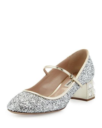 Decollete Glitter Jewel-Heel Pump, Argento/Pirite
