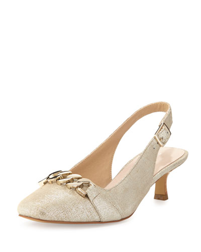 Selina Chain-Link Slingback Pump, Light Camel
