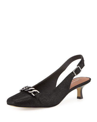Selina Chain-Link Slingback Pump, Black/Pewter