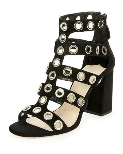 Rivet-Studded Caged Sandal, Black (Nero)