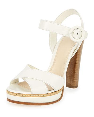 Patent Leather Crisscross Sandal, White (Bianco)