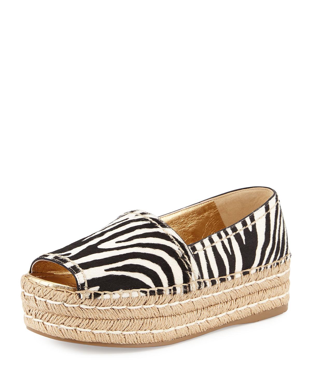 Zebra-Print Calf-Hair Espadrille Slip-On