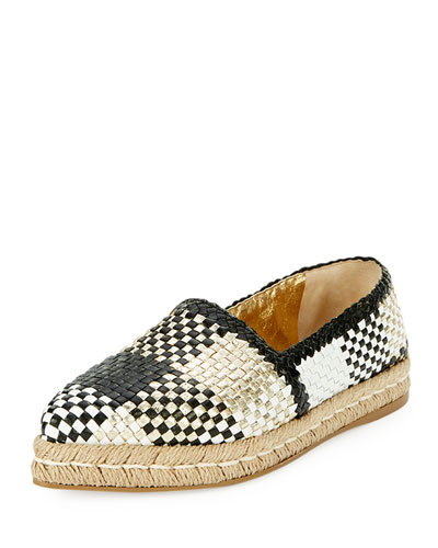 Woven Leather Espadrille Flat, Gold/Black