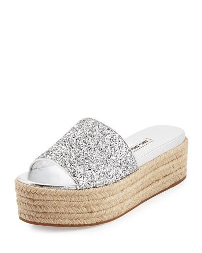 Glitter Platform Espadrille Slide Sandal, Argento