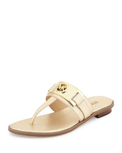 Warren Saffiano Thong Sandal, Pale Golden