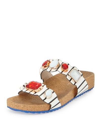 Becky Gem Nautical-Stripe Sandal, Black/White