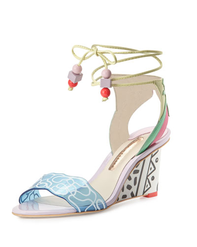 Sandi Malibu Ankle-Wrap Wedge Sandal, Multi