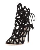 Mila Suede Cutout Peep-Toe Sandal, Black